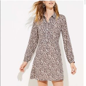 LOFT Leopard Flare Shirtdress NWT
